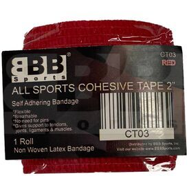 "CT03 BBB Sports Athletic Cohesive Wrap Tape 2"" Inch Red"
