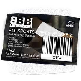 "CT04 BBB Sports Athletic Cohesive Wrap Tape 2"" Inch White"