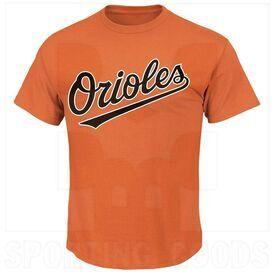 1922-BAO-DO Majestic Camiseta para Adulto MLB Crewneck Baltimore Orioles Naranja