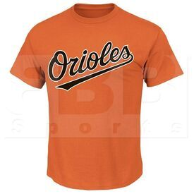 1922-BAO-DO-M Majestic Camiseta para Adulto MLB Crewneck Baltimore Orioles Naranja Medium