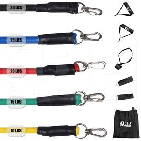 RTBS01 BBB Sports Resistance Tube Bands Set Up to 100 LB with Handles, Door Anchor & Ankle Straps (11pcs)