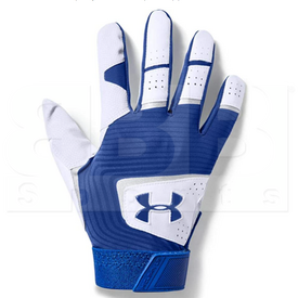 1970-WHRO-S Under Armour Clean Up Batting Gloves White w/ Royal Blue