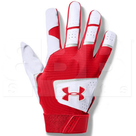 1970-WHSC-S Under Armour Clean Up Batting Gloves White w/ Red