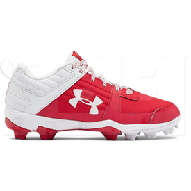 3022072-600-10K Under Armour Leadoff Low Baseball Molded Cleats Scarlet w/ White