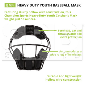 BM4 Champion Mascara de Proteccion Beisbol/Softbol/Arbitro/Receptor Negra