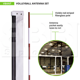 VBANT Champion Sports Volleyball Antenna w/ Visible Red Striped Fiberglass Pole Set