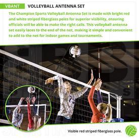 VBANT Champion Sports Antena de Voleibol con Juego de Postes de Fibra de Vidrio a Rayas Rojas Visibles