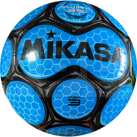 SAR3-RO Mikasa Aura Leather Soccer Ball Size 3 Royal/Black