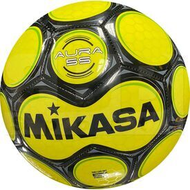 SAR5-YE Mikasa Bola de Soccer Aura en Cuero Tamaño 5 Amarilla/Verde/Negra