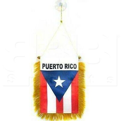 "603 Puerto Rico Mini Flag 4"" x 6"" Window Banner w/ Brass Staff and Suction Cup Double Sided"