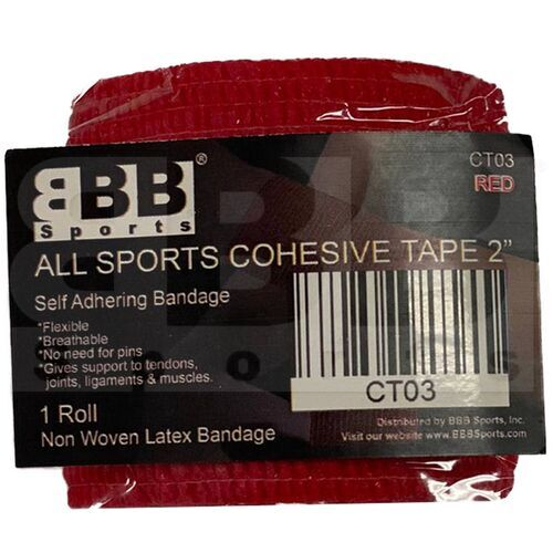 """CT03 BBB Sports Athletic Cohesive Wrap Tape 2"""" Inch Red"""