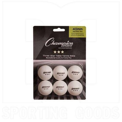 3STAR Champion Ping Pong Balls 6 Pack White