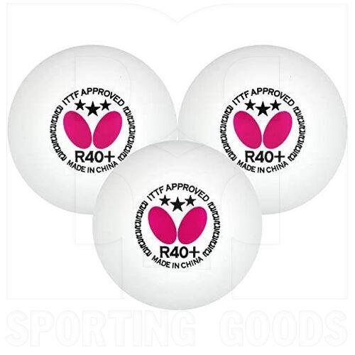 B3R403 Butterfly Plastic Ping Pong R40+ 3 Pack Balls