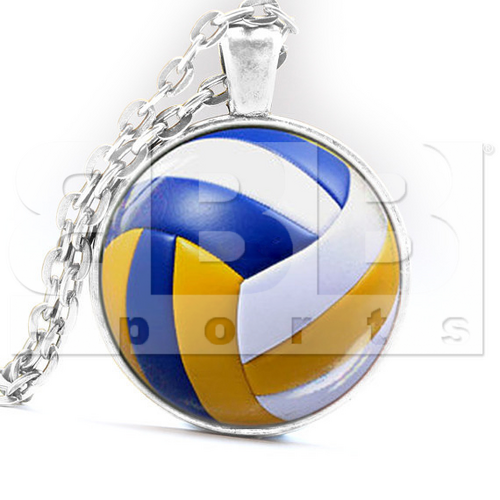 VGN Volleyball Glass Dome Silver Chain Pendant Necklace Jewelry