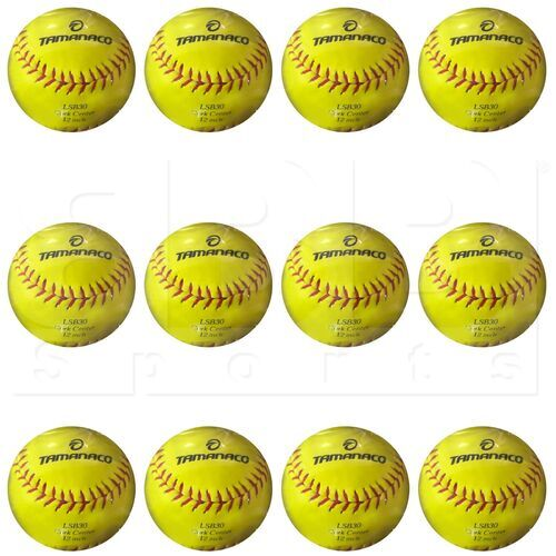 "LSB30Y Tamanaco Softball Practice Ball 12"" Cork PU Yellow PVC w/ Red Stitch 9oz Dozen"