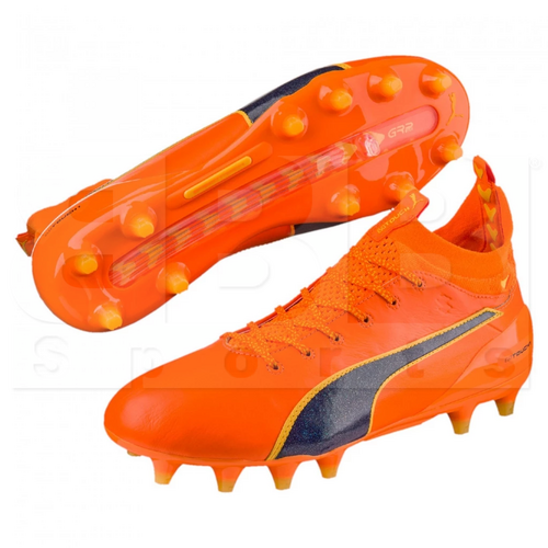 103672-05 Puma Men's Evotouch 1 FG Soccer Cleats Orange Clown Fish/Peacoat/Ultra Yellow