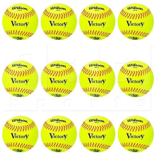 "A9115 Wilson Victory Softball Practice Ball 12"" Yellow PVC w/ Red Stitch 9oz Dozen"