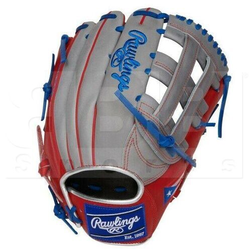 """PRO3039-6PR Rawlings Heart of the Hide Puerto Rico Special Edition Outfield Glove 12.75"""" RHT Gray/Blue/Red"""